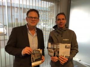 Ardi Voskamp (West Media) en Fred Louter (Pensive) zijn tevreden over de prachtige brochure voor De Pynas in Maasland.